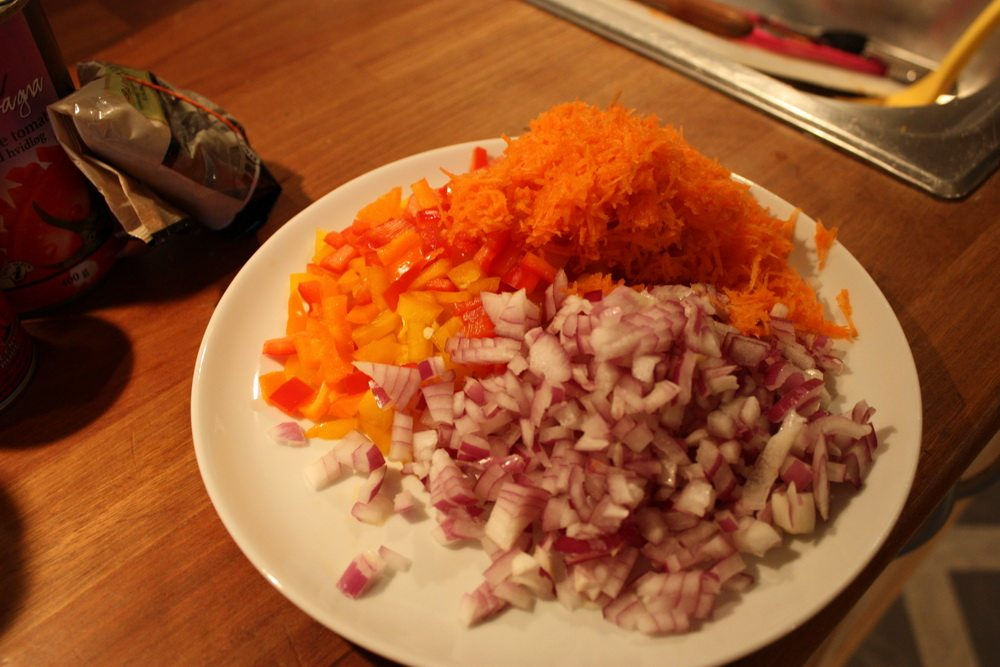 chopped red onions, grated carrot and bell pepper