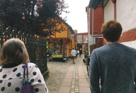 matt and mom walking in køge