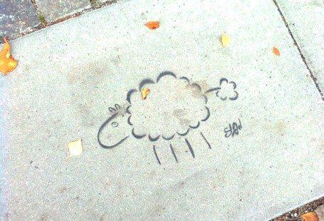 sheep drawn on pavement copenhagen 2010