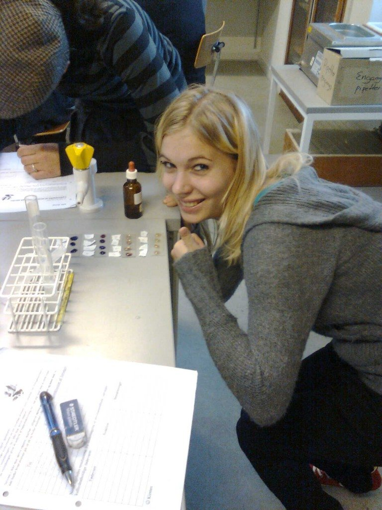 Louise at chemistry class