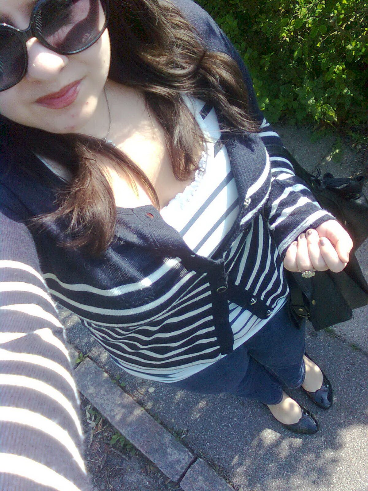 Selfie of me wearing striped shirts and jeans