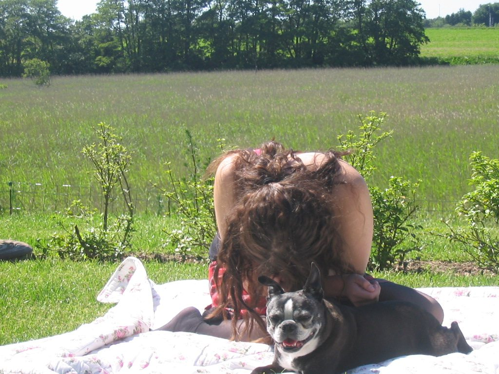 Leah hiding behind curly hair and boston terrier mille 2005