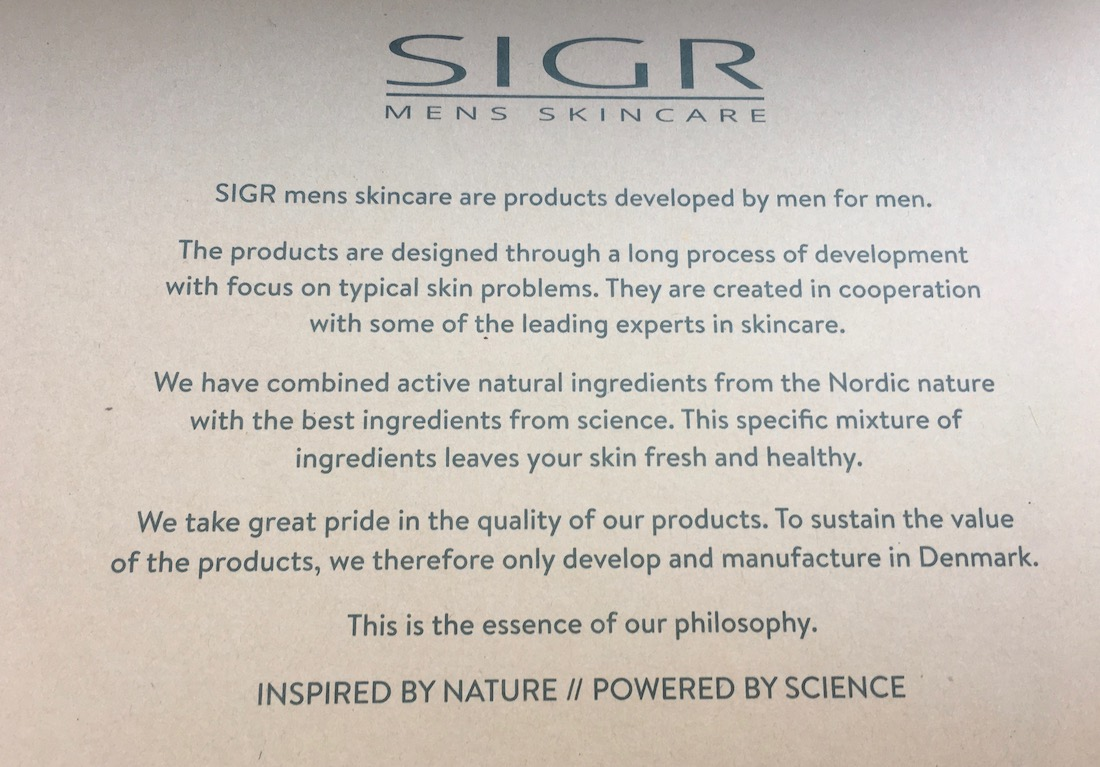 SIGR nordic skincare for men about