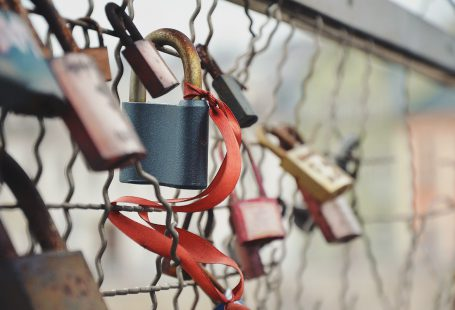 love locks on a fence