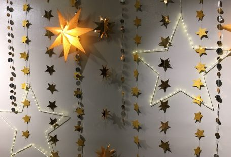 christmas stars on wall