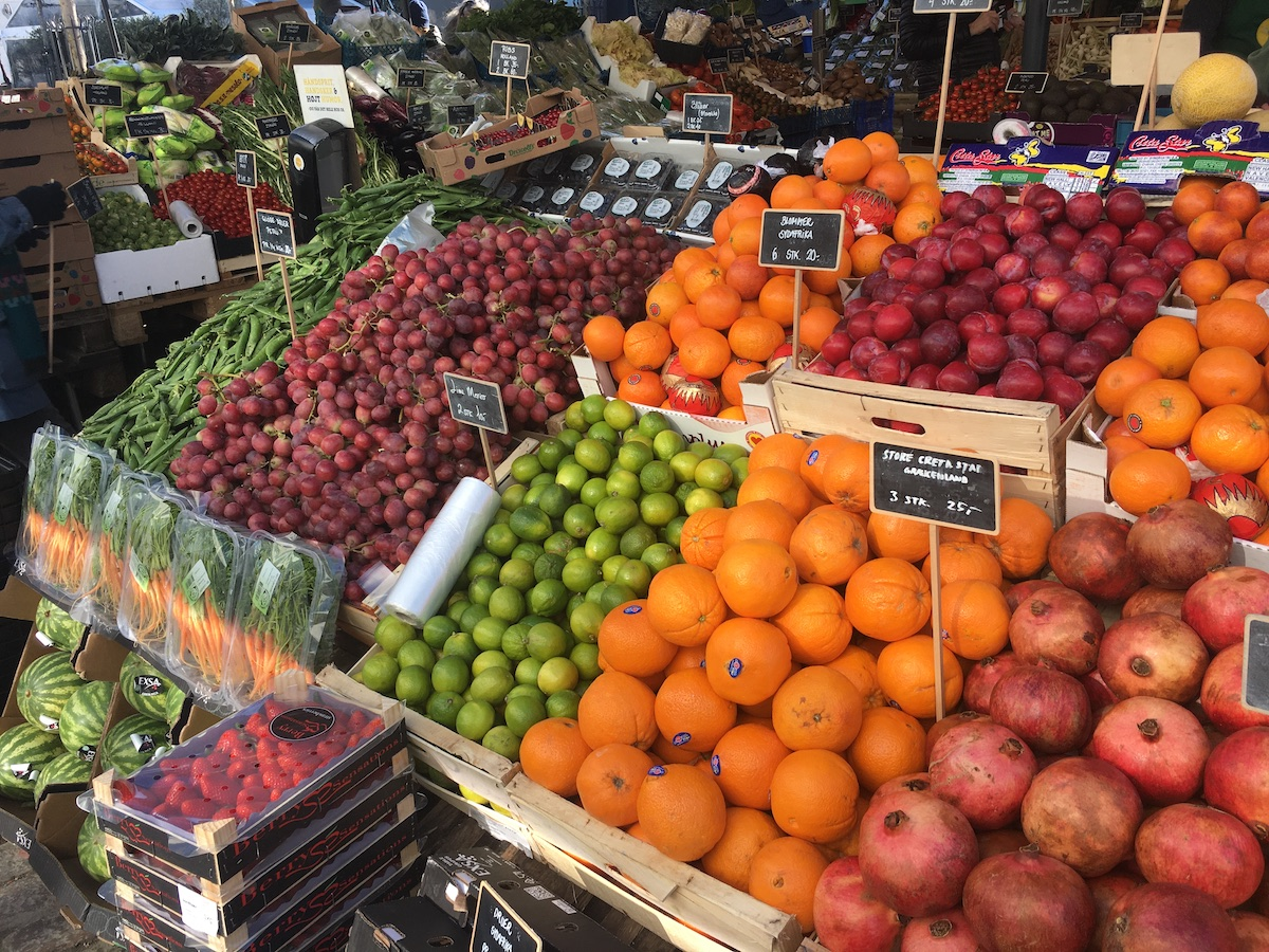 fruit market in copenhagen at torvehallerne march 2021