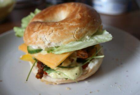 homemade club bagel sandwich