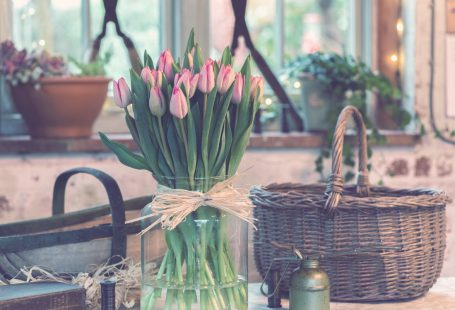 pink tulips in a clear vase
