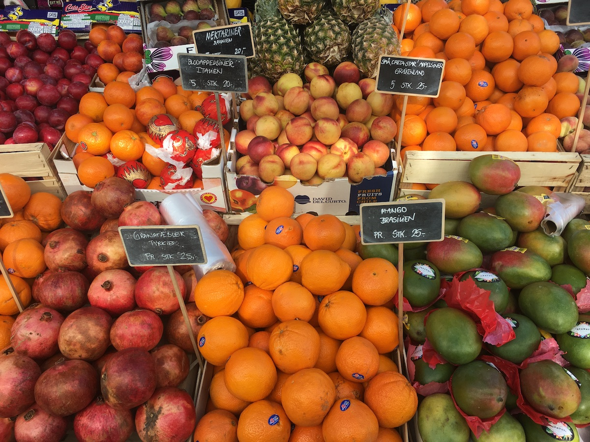 nectarines, blood oranges, oranges, plums and mangos at torvehallerne cph